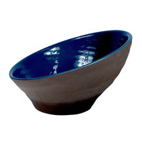 Elite Global Solutions D105RR-LAP/CH Durango 1.56 Qt. Lapis and Chocolate Angled Two-Toned Melamine Bowl - 6/Case