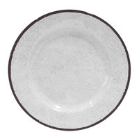 Elite Global Solutions D1025M Mojave Vintage California 10 1/2 inch White Round Crackle Melamine Plate - 6/Case
