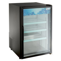 Avantco CRM-7-HC Black Countertop Display Refrigerator with Swing Door - 4.1 Cu. Ft.