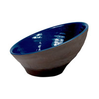 Elite Global Solutions D85RR-LAP/CH Durango 27 oz. Lapis and Chocolate Angled Two-Toned Melamine Bowl - 6/Case