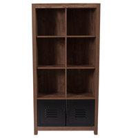 Flash Furniture NAN-JN-21736BF-GG New Lancaster 6 Shelf Crosscut Oak Wood Shelving Unit - 29 1/2 inch x 12 inch x 59 1/2 inch