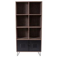 Flash Furniture NAN-JN-21735BF-GG Woodridge 6 Shelf Rustic Woodgrain Shelving Unit - 27 1/2 inch x 14 inch x 59 1/4 inch