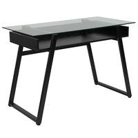 Flash Furniture NAN-JN-2410-GG Huntley Glass Desk with Black Metal Legs - 43 inch x 21 1/2 inch x 29 1/2 inch