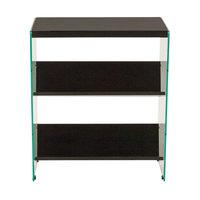 Flash Furniture NAN-JN21708B3-G-GG 2 Shelf Dark Ash Woodgrain Laminate and Glass Bookcase - 23 1/2 inch x 11 1/2 inch x 28 inch