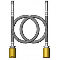 T&S 019217-40 18 inch Stainless Steel Flex Supply Hose with M10 x 1 Male and 1/2 inch BSPT Connections - 2/Set