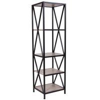 Flash Furniture NAN-JH-1785-GG Chelsea 4 Shelf Sonoma Oak Woodgrain Shelving Unit - 17 1/4 inch x 15 3/4 inch x 61 inch