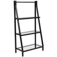 Flash Furniture NAN-JN21719-B-GG 3 Shelf Glass with Black Frame Laminate Bookcase - 23 3/4 inch x 11 3/4 inch x 45 1/2 inch