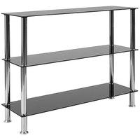 Flash Furniture HG-112354-GG Riverside 2 Shelf Black Glass Shelving Unit - 39 1/4 inch x 12 1/2 inch x 31 1/2 inch