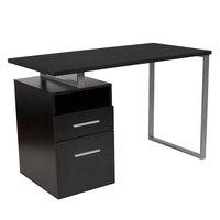 Flash Furniture NAN-JN-2634-G-GG Harwood Dark Ash Wood Desk - 47 inch x 23 1/2 inch x 30 1/2 inch