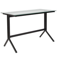 Flash Furniture NAN-JN21719-D-GG Highland Glass with Black Frame Desk - 43 1/4 inch x 21 1/2 inch x 28 inch