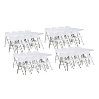 Lancaster Table & Seating (4) 30 inch x 72 inch Granite White Heavy Duty Blow Molded Plastic Folding Tables with 32 White Folding Chairs