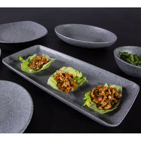 Elite Global Solutions RT146RC-GS Tenaya 14 1/2 inch x 6 1/2 inch Granite Stone Rectangular Melamine Plate - 6/Case