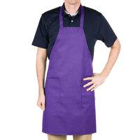 Choice Purple Full Length Bib Apron with Pockets - 34 inch x 32 inchW