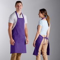 Choice Bright Purple Poly-Cotton Bib Apron with 2 Pockets - 34 inchL x 32 inchW