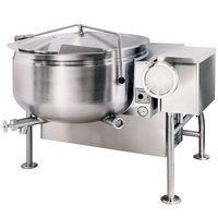 Cleveland KGL-40-TSH Short Series Natural Gas 40 Gallon Tilting Full Steam Jacketed Kettle - 140,000 BTU
