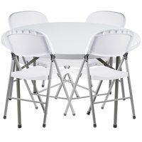Lancaster Table & Seating 48 inch Round Granite White Heavy Duty Blow Molded Plastic Folding Table with 4 White Folding Chairs