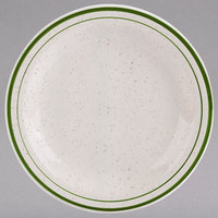 Homer Laughlin 2121901 Sand Dunes 6 1/2 inch Green Speckled Narrow Rim China Plate - 36/Case