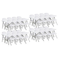 Lancaster Table & Seating (4) 30 inch x 96 inch Granite White Heavy Duty Blow Molded Plastic Folding Tables with 32 White Folding Chairs
