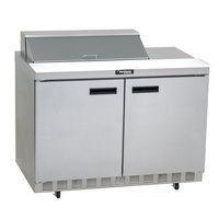 Delfield 4460N-18M 60 inch 2 Door Mega Top Front Breathing Refrigerated Sandwich Prep Table with 3 inch Casters