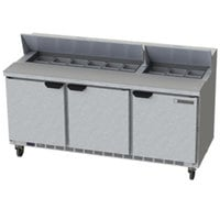 Beverage-Air SPE72HC-18-23 72 inch 3 Door ADA Height Refrigerated Sandwich Prep Table
