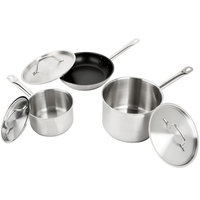 Vigor 6-Piece Stainless Steel Aluminum-Clad Cookware Set with Sauce Pans, Fry Pan, and Lids