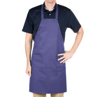 Choice Purple Full Length Bib Apron with Pockets - 34 inch x 32 inch