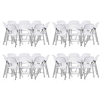 Lancaster Table & Seating (4) 60 inch Round Granite White Heavy Duty Blow Molded Plastic Folding Tables with 32 White Folding Chairs