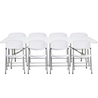 Lancaster Table & Seating 30 inch x 96 inch Granite White Heavy Duty Blow Molded Plastic Folding Table with 8 White Folding Chairs