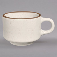 Homer Laughlin 103427 Sand Dunes 7 oz. Brown Speckled China Ship Cup - 36/Case