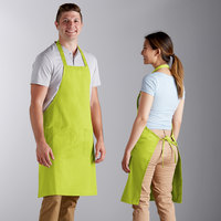 Choice Lime Green Full Length Bib Apron with Pockets - 34 inch x 32 inch