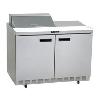 Delfield 4460N-8 60 inch 2 Door Front Breathing Refrigerated Sandwich Prep Table with 3 inch Casters