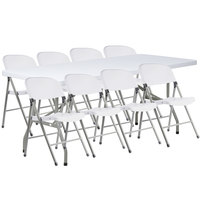 Lancaster Table & Seating 30 inch x 72 inch Granite White Heavy Duty Blow Molded Plastic Folding Table with 8 White Folding Chairs