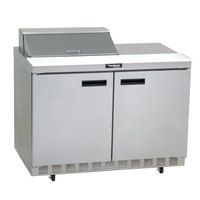 Delfield 4448N-8 48 inch 2 Door Front Breathing Refrigerated Sandwich Prep Table with 3 inch Casters