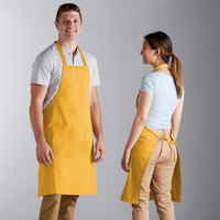 Choice Gold Poly-Cotton Bib Apron with 2 Pockets - 34 inchL x 32 inchW
