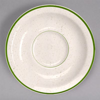 Homer Laughlin 2831901 Sand Dunes 5 1/2 inch Green Speckled China Texas Saucer - 36/Case