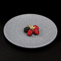 Elite Global Solutions RT8R-GS Tenaya 8 inch Granite Stone Round Melamine Plate - 6/Case
