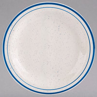 Homer Laughlin 2121537 Sand Dunes 6 1/2 inch Blue Speckled Narrow Rim China Plate - 36/Case