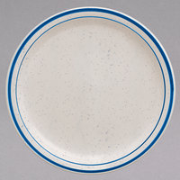 Homer Laughlin 2131537 Sand Dunes 7 1/4 inch Blue Speckled Narrow Rim China Plate - 36/Case
