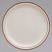 Homer Laughlin 211427 Sand Dunes 5 1/2 inch Brown Speckled Narrow Rim China Plate - 36/Case
