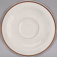 Homer Laughlin 285427 Sand Dunes 4 7/8 inch Brown Speckled China A.D. Saucer - 36/Case