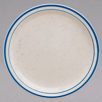 Homer Laughlin 2111537 Sand Dunes 5 1/2 inch Blue Speckled Narrow Rim China Plate - 36/Case