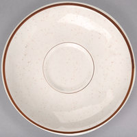 Homer Laughlin 282427 Sand Dunes 4 7/8 inch Brown Speckled China Boston Saucer - 36/Case