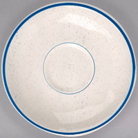 Homer Laughlin 2821537 Sand Dunes 4 7/8 inch Blue Speckled China Boston Saucer - 36/Case