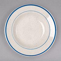 Homer Laughlin 2531537 Sand Dunes 12.75 oz. Blue Speckled China Rolled Edge Rim Soup Bowl - 24/Case