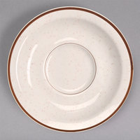 Homer Laughlin 283427 Sand Dunes 5 1/2 inch Brown Speckled China Texas Saucer - 36/Case