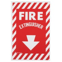 Buckeye 12 inch x 8 inch Red and White Fire Extinguisher Adhesive Label with Border