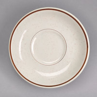 Homer Laughlin 281427 Sand Dunes 5 1/2 inch Brown Speckled China Ship Saucer - 36/Case
