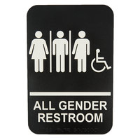 Tablecraft 695653 9 inch x 6 inch ADA Handicap Accessible All Gender Restroom Sign with Braille