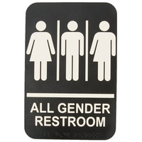 Tablecraft 695652 9 inch x 6 inch ADA All Gender Restroom Sign with Braille