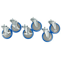 5 inch Enclosed Base Table Swivel Stem Casters - 6/Set
